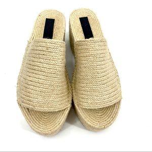 Zara woven jute platform sandals 41
